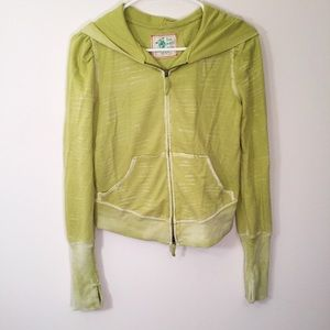 FREE PEOPLE Lime Green Burnout Hoodie Sweatshirt